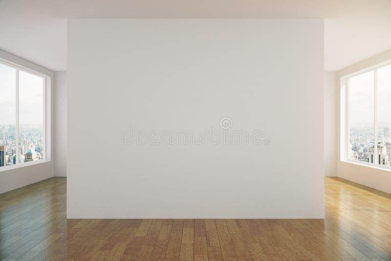 有白色墙壁和木地板的现代晴朗的空的顶楼室 库存例证