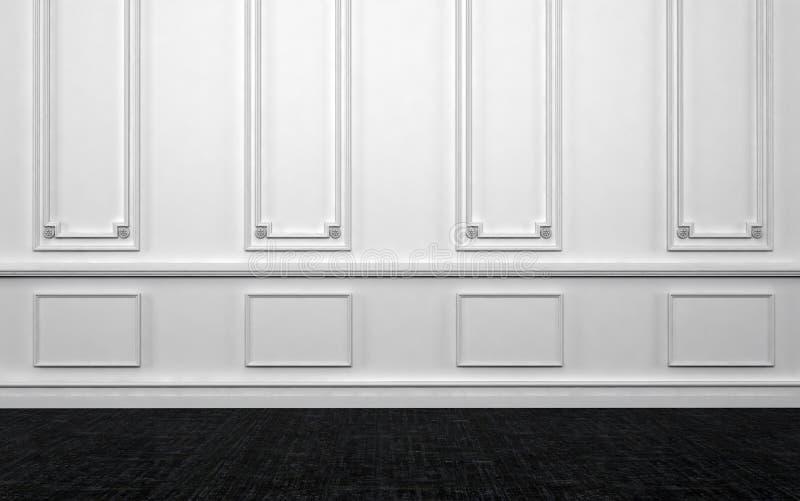 有白色墙壁和黑暗的木地板的空的室 库存例证