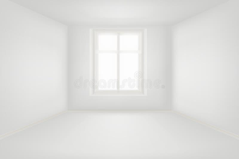 有白色墙壁的现代空的客厅导航例证 皇族释放例证