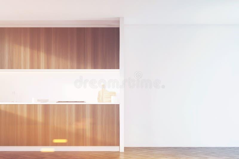 有白色墙壁的黑暗的木厨房,被定调子 向量例证
