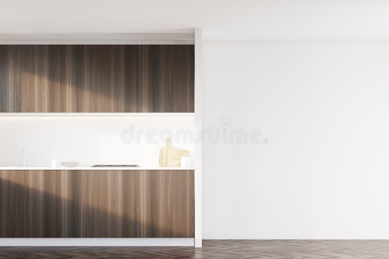 有白色墙壁的黑暗的木厨房 库存例证