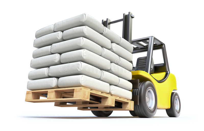有白色大袋的铲车 库存例证