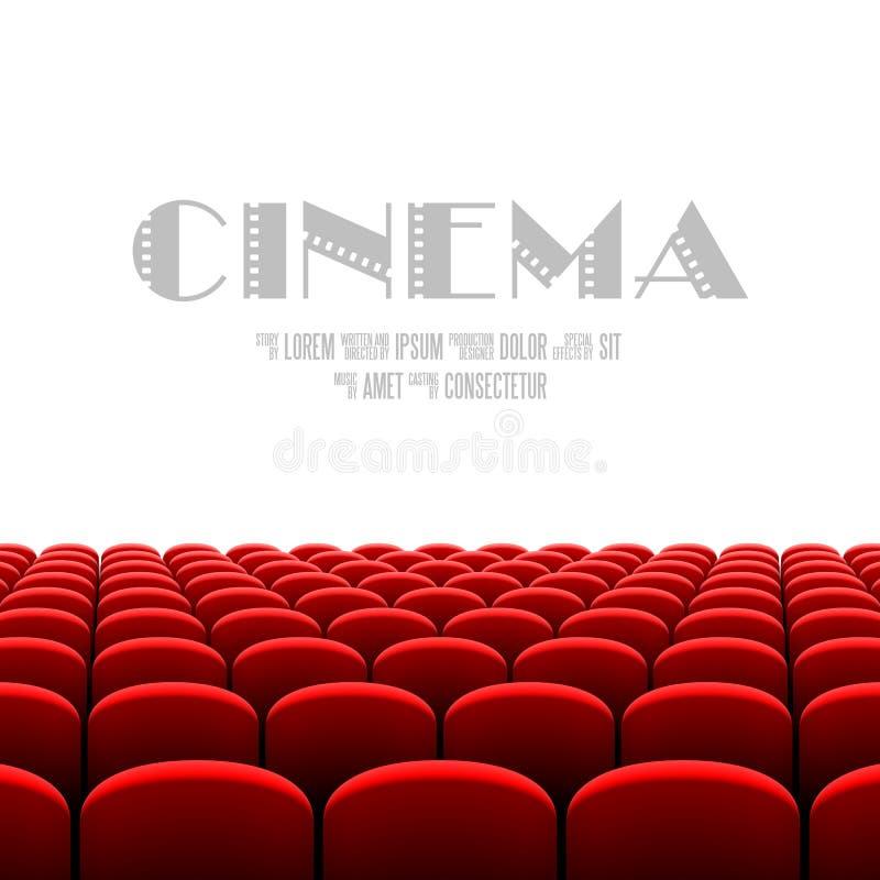 有白色屏幕和红色位子的戏院观众席 向量例证