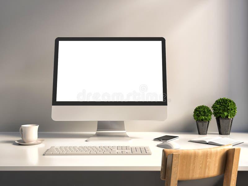 有白色屏幕的计算机在办公室桌上 向量例证