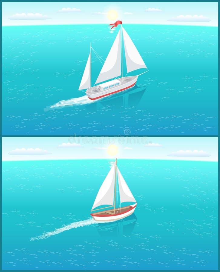 有白色帆布的,渔场船航行帆船 向量例证