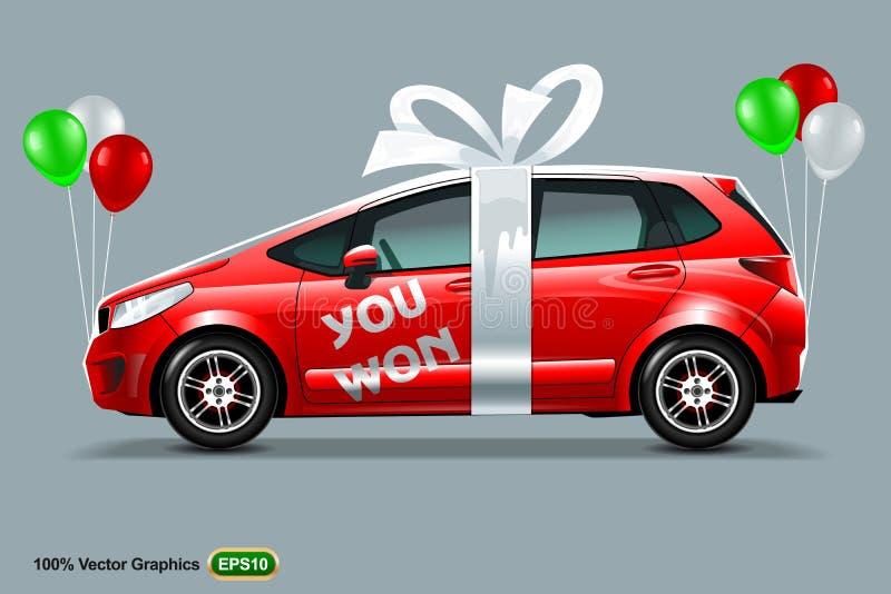 有白色弓和颜色气球的红色汽车,隔绝在灰色背景,与题字您赢取了 皇族释放例证
