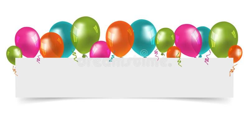 有白色无纸的空间的五颜六色的气球 库存例证