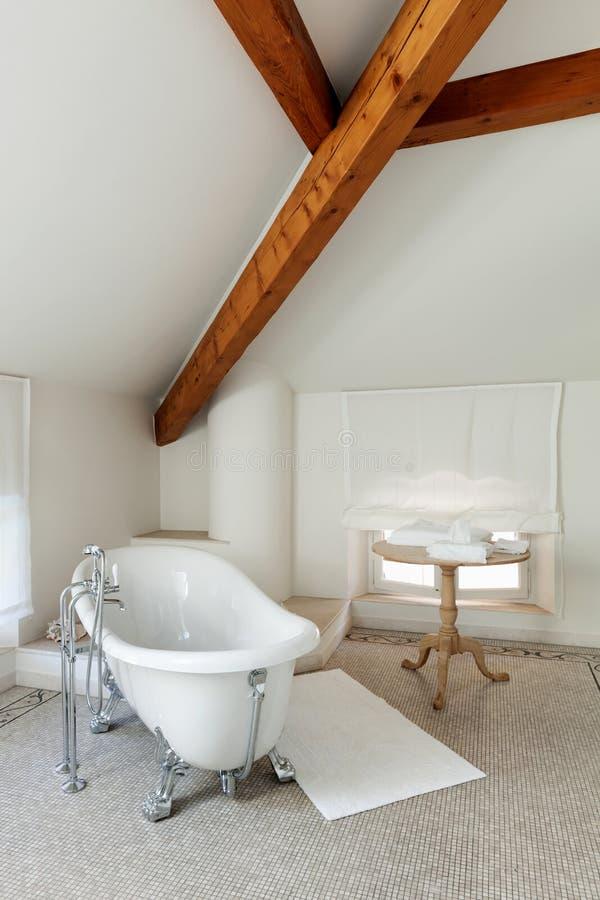 有白色木盆的经典卫生间 免版税库存图片