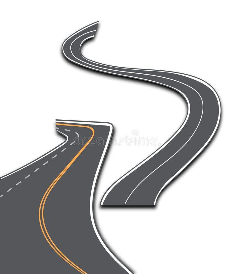 有白色条纹的路在格子花呢披肩背景 设置弯曲的路线 皇族释放例证