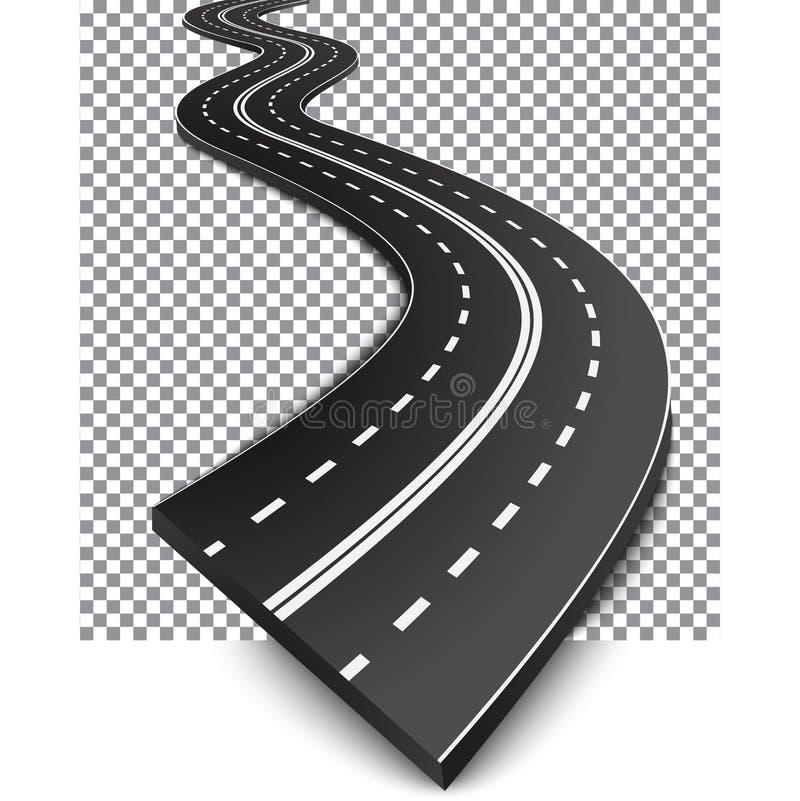 有白色标号的弯曲的路 向量例证