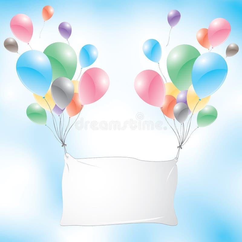 有白色标志的气球在蓝天背景 迅速增加五颜六色 皇族释放例证
