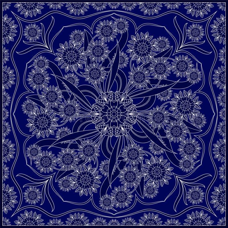 有白色样式的蓝色方巾 库存例证