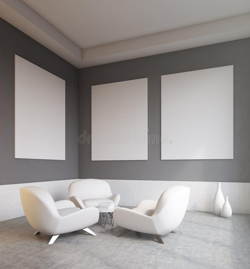 有白色沙发的客厅 向量例证