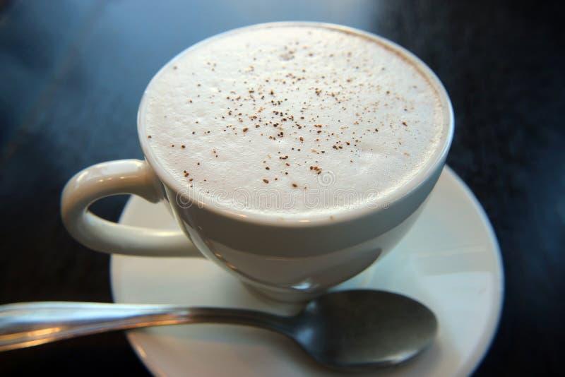 有白色泡沫和桂香宏观照片的热奶咖啡杯 库存照片