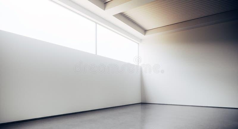 有白色混凝土墙和地板的空的顶楼样式办公楼走廊 室内设计的概念和 库存例证