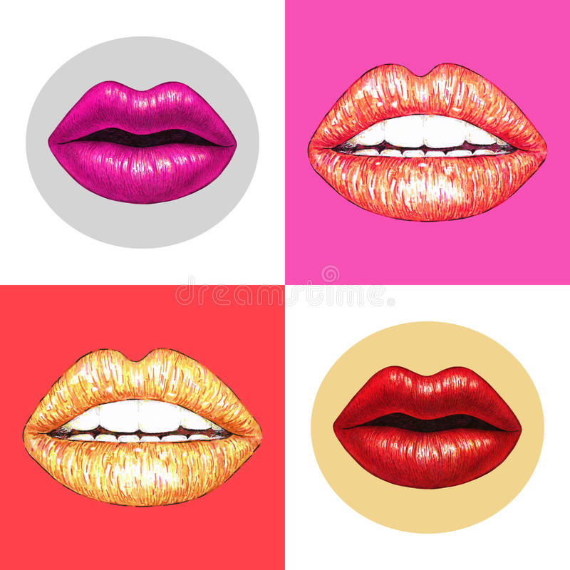 有白色牙的美丽的性感的嘴唇在桃红色背景 女性嘴唇画 手工 设计的无缝的模式 库存例证
