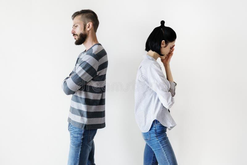 有白色的夫妇论据 库存图片