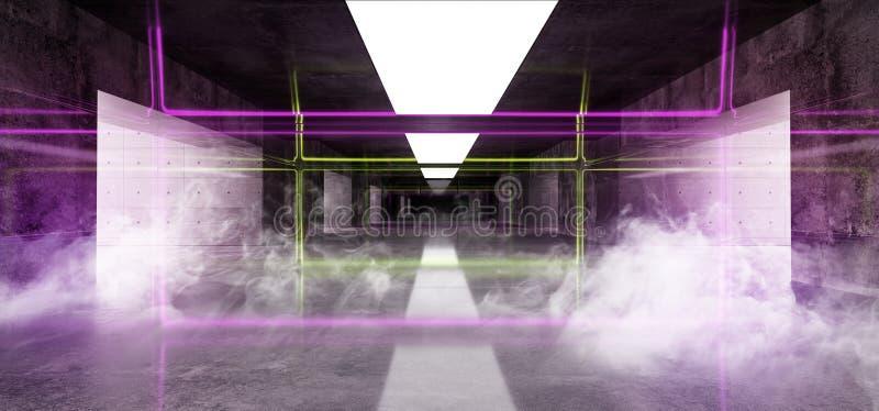 有白色的烟烟霓虹发光的曲拱门绿色紫色难看的东西具体明亮的科学幻想小说现代空的霍尔车库隧道走廊 向量例证