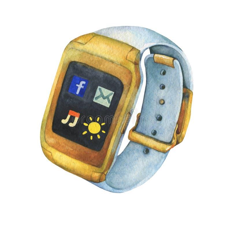 有白色皮带的金巧妙的手表 向量例证