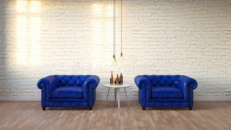 有白色砖墙的, 3D现代顶楼客厅回报 免版税库存图片