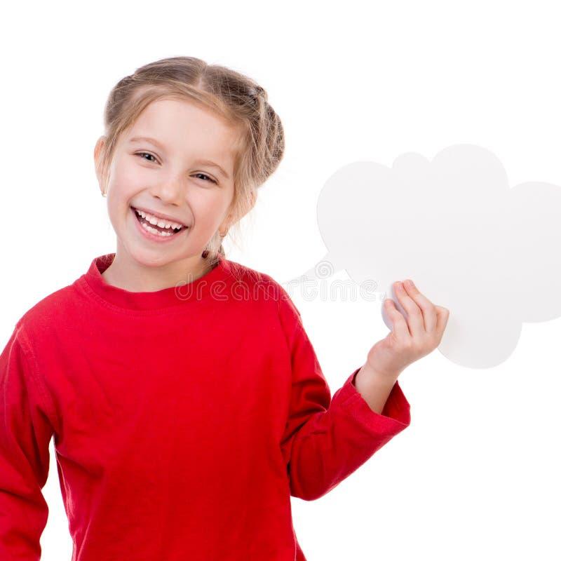 有白色空白的小女孩 免版税库存照片
