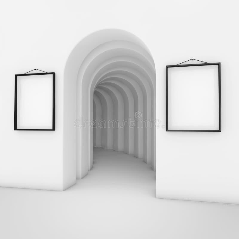 有白色空白的招贴大模型框架的抽象白色拱道 3 向量例证