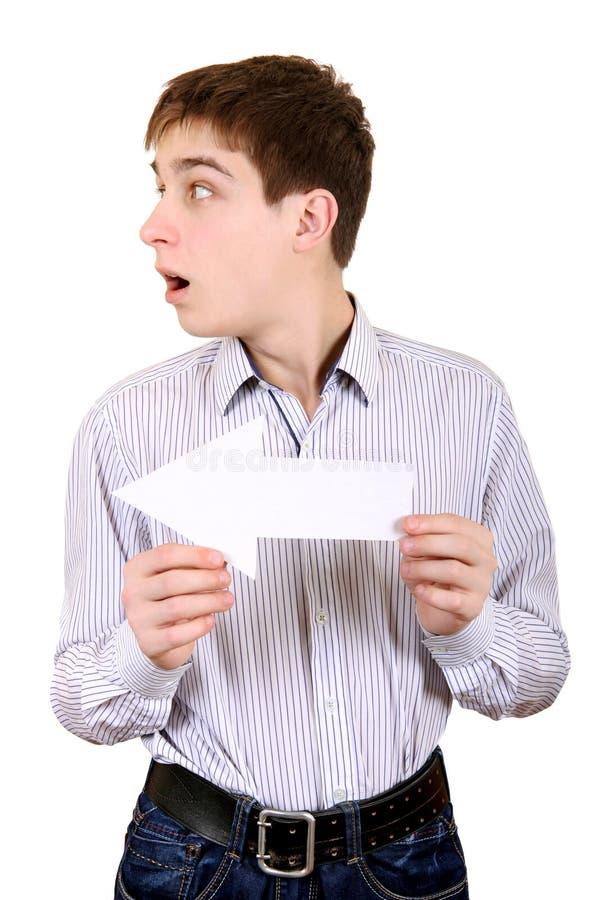 有白色箭头的少年 免版税图库摄影
