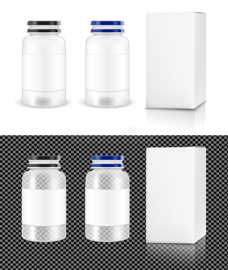 有白色箱子的传染媒介透明塑料瓶子化妆用品的和 向量例证