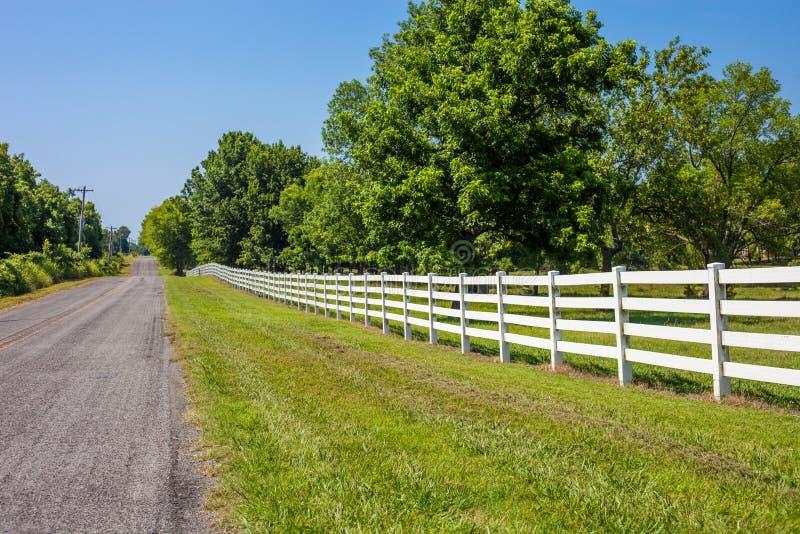 有白色篱芭和绿色树的空的乡下路 免版税图库摄影