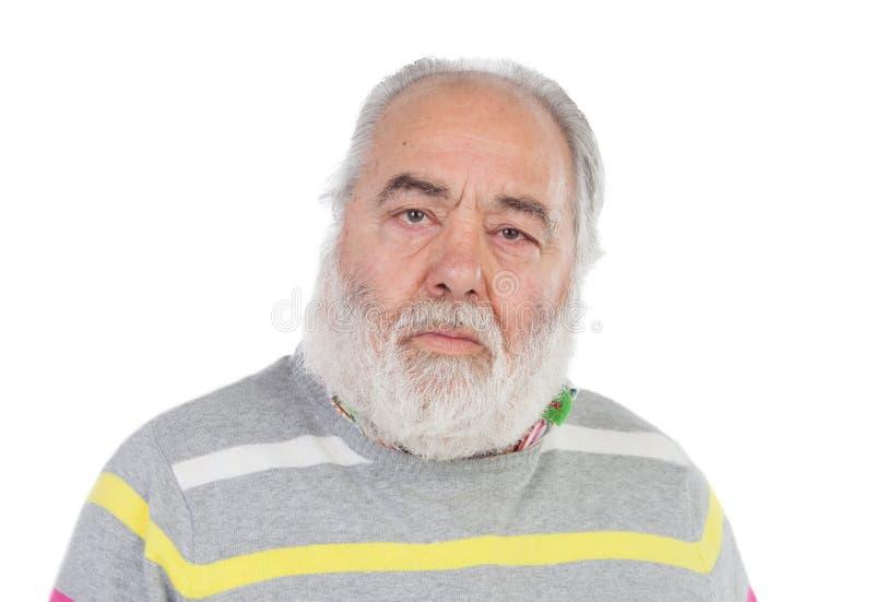 有白色胡须的哀伤的老人 免版税库存照片