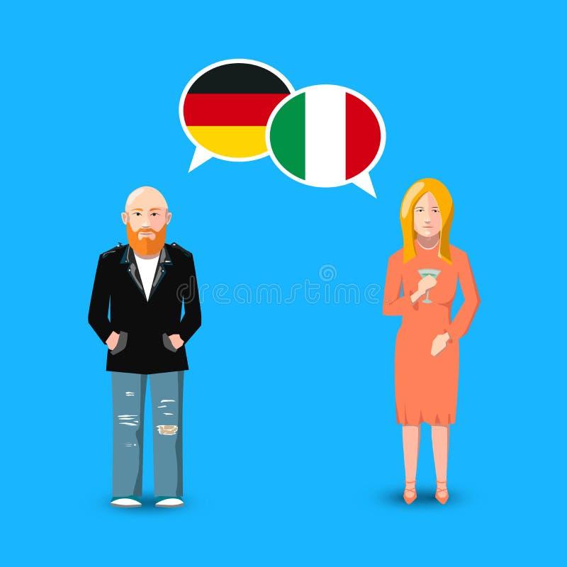 有白色讲话的两个人起泡与德国和意大利旗子 语言研究概念例证 库存例证