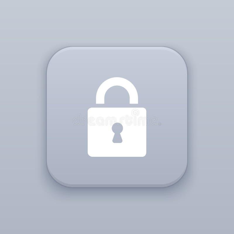 有白色象的被锁的,灰色传染媒介按钮 皇族释放例证