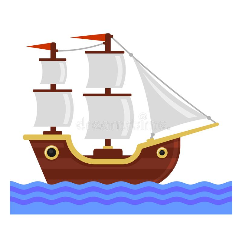 有白色风帆的动画片船 平的样式传染媒介 库存例证