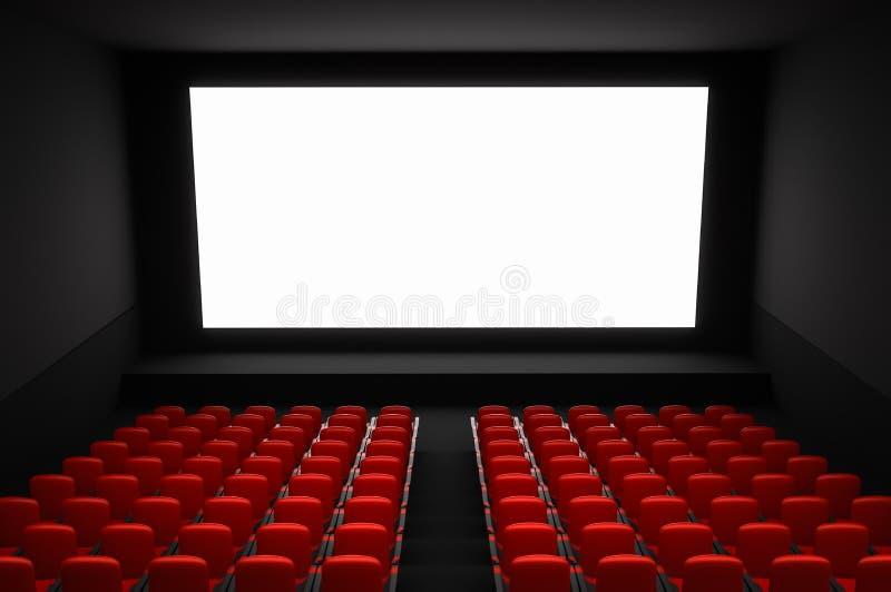 有白色黑屏和红色位子的戏院观众席 皇族释放例证