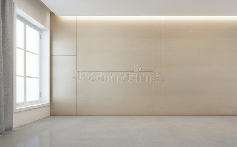 有白色水泥地板和木墙壁背景的空的室在现代房子里 免版税图库摄影