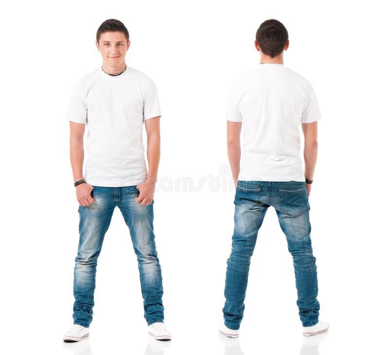 有白色T恤的人 免版税库存照片