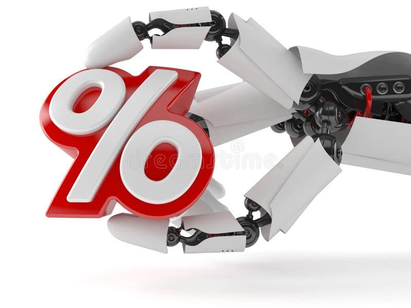 有百分之标志的机器人手 皇族释放例证