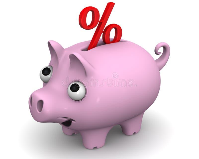 有百分比标志的猪存钱罐 向量例证