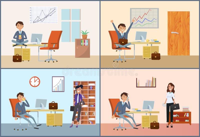 有的商人与妇女客户的任命 向量例证