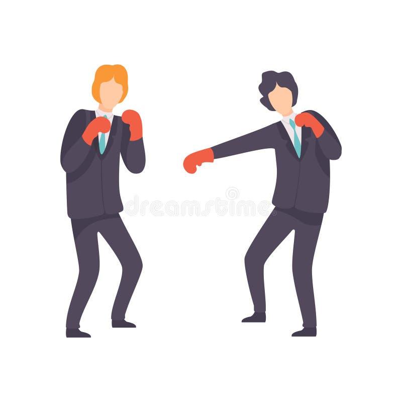 有的商人与拳击手套的战斗,企业竞争,在同事,办公室工作者之间的竞争 向量例证