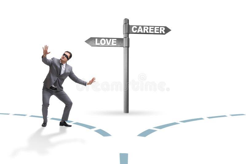 有的商人在爱和事业之间的艰难的选择 库存图片