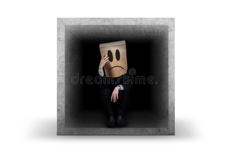 有的商人问题坐在箱子里面 库存照片