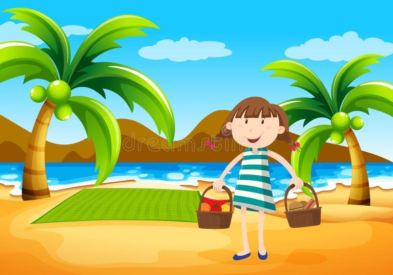 有的女孩在海滩的野餐 库存例证