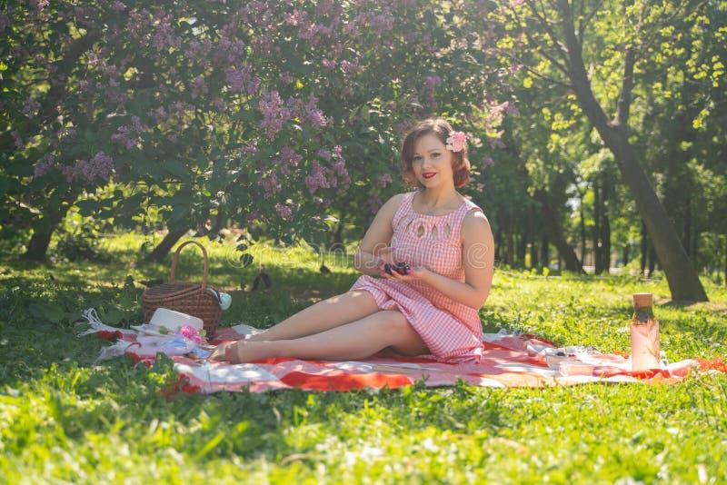 有的女孩的俏丽的年轻别针自然的基于 愉快的亭亭玉立的年轻女人佩带的葡萄酒礼服坐格子花和r 库存照片