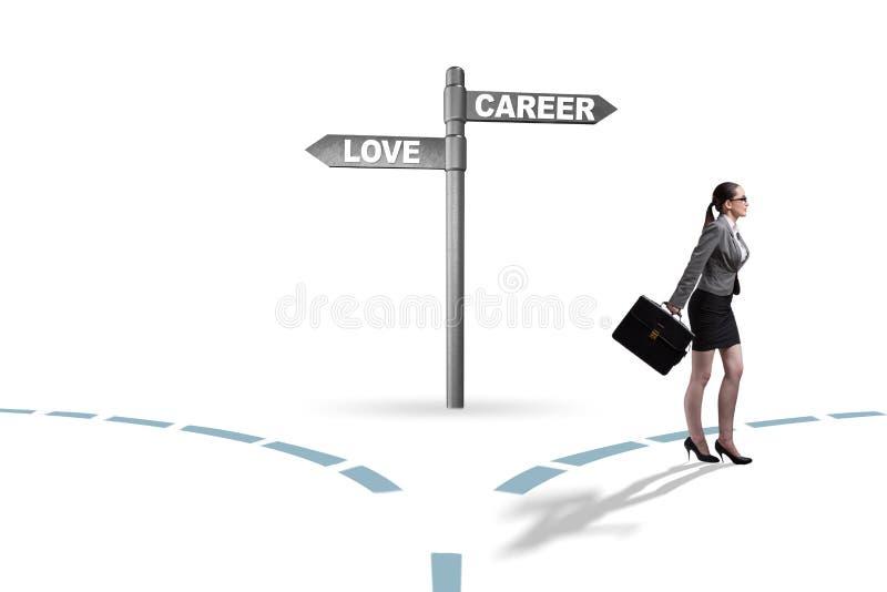 有的女实业家在爱和事业之间的艰难的选择 免版税库存图片
