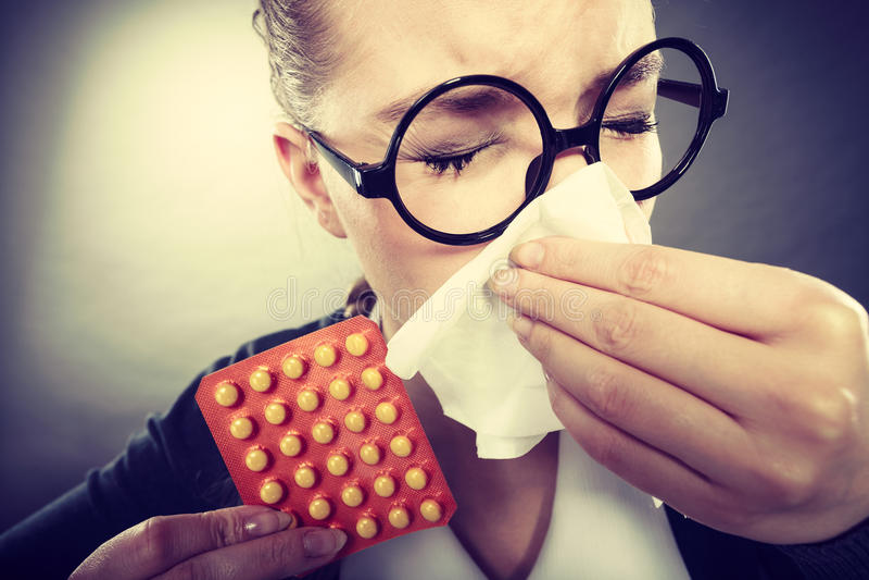 有的女实业家流感grippe 库存图片