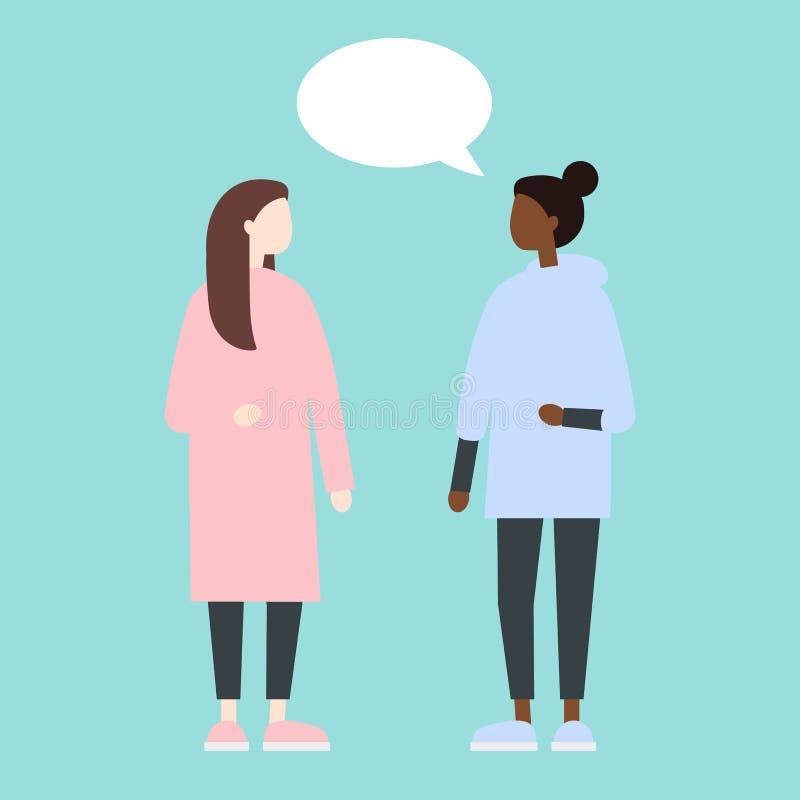 有的女性对话 平的样式逗人喜爱的传染媒介例证 向量例证