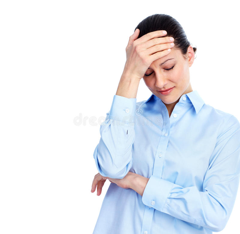 有的妇女头疼。 免版税库存图片