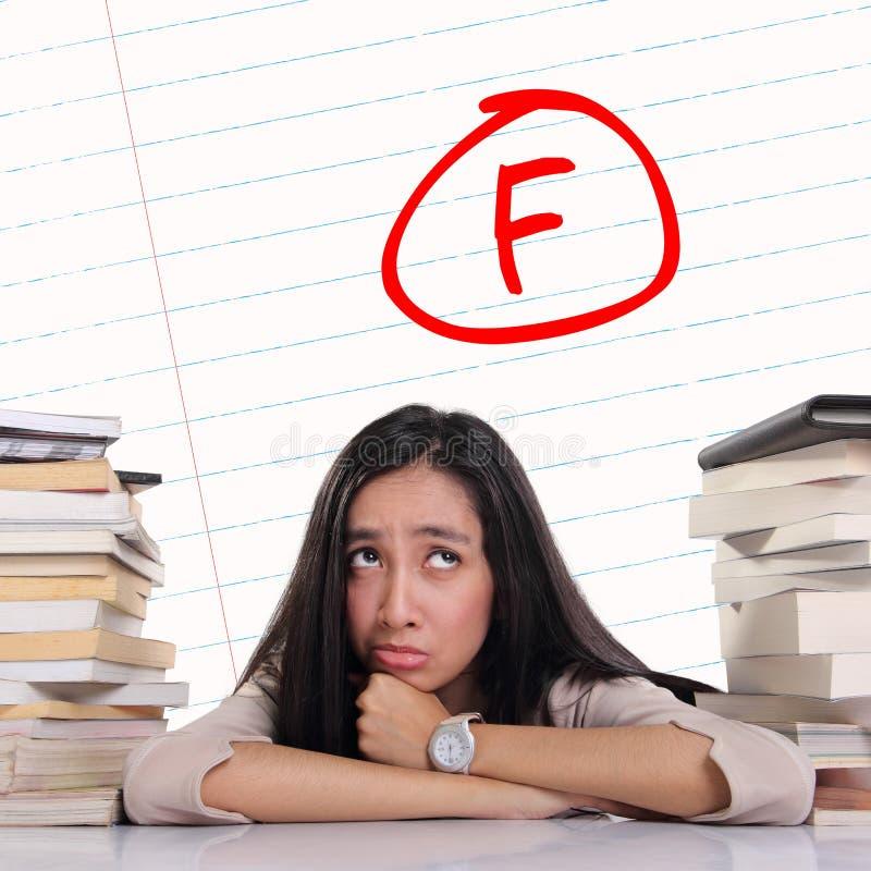 有的学生坏成绩-在纸的F标记 库存图片