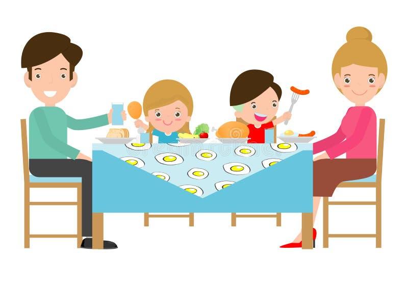 有的家庭膳食一起,父亲、母亲和儿子,女儿在桌上坐白色背景,传染媒介例证 向量例证